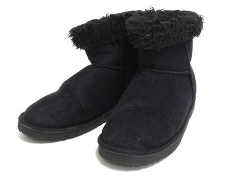 ノーブランド ブーツ ショート ムートン L 黒 24....