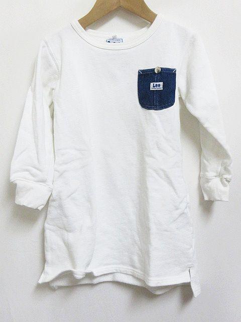 c60b68e7b9f6d リー LEE トレーナー ワンピース ロゴ ポケット 白 120 キッズの通販は ...