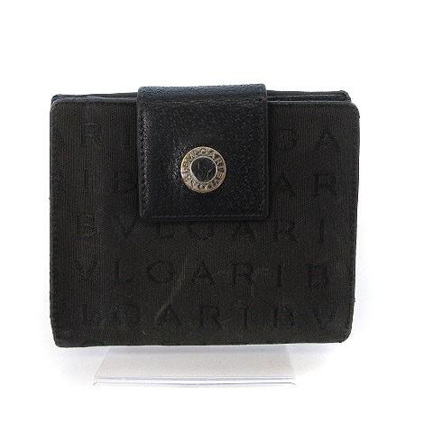 ec87088360c5 ブルガリ BVLGARI ロゴマニア 財布 二つ折り Wホック 黒 ブラック ☆CA☆キ31