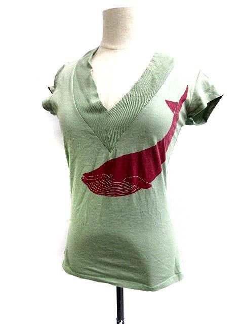 空 ku クウ Tシャツ カットソー Vネック 半袖 1 緑 /SR35 レディース ベクトル【中古】