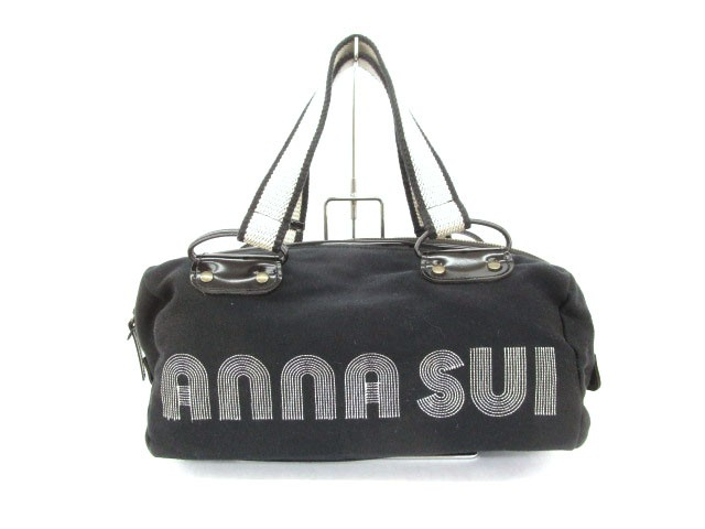 アナスイ ANNA SUI バック ミニボストン ロゴ 黒 ...