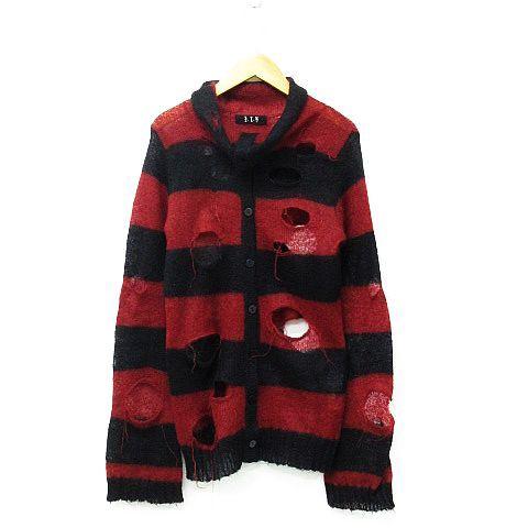 e8ea20daca1b8 ブラックピースナウ BLACK PEACE NOW ニットカーディガン セーター 長袖 薄手 ボーダー ダメージ加工 モヘヤ 黒 赤