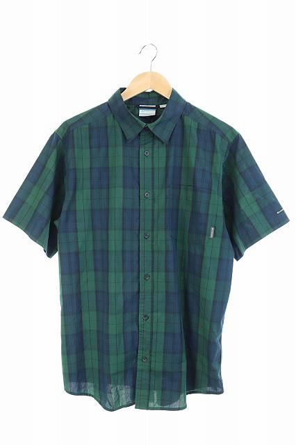 コロンビア Columbia シャツ 半袖 チェック XL 緑...