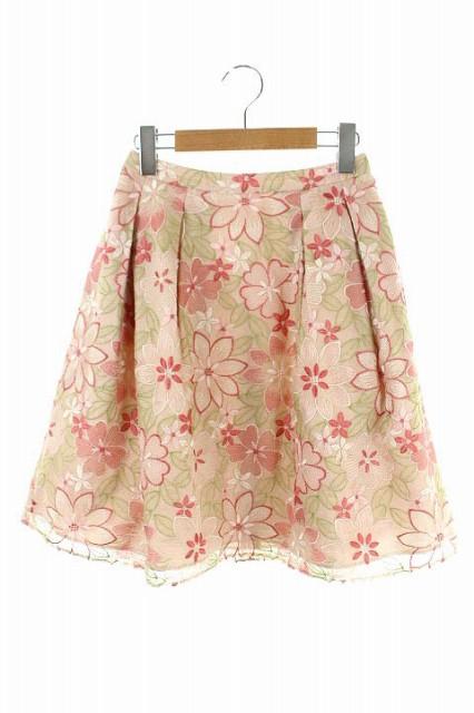 トッカ TOCCA スカート 膝丈 フレア 花柄 刺繍 0 ...