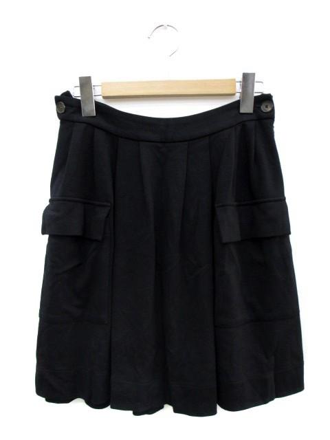 ラコステ LACOSTE スカート ひざ丈 フレア 34 黒 ...