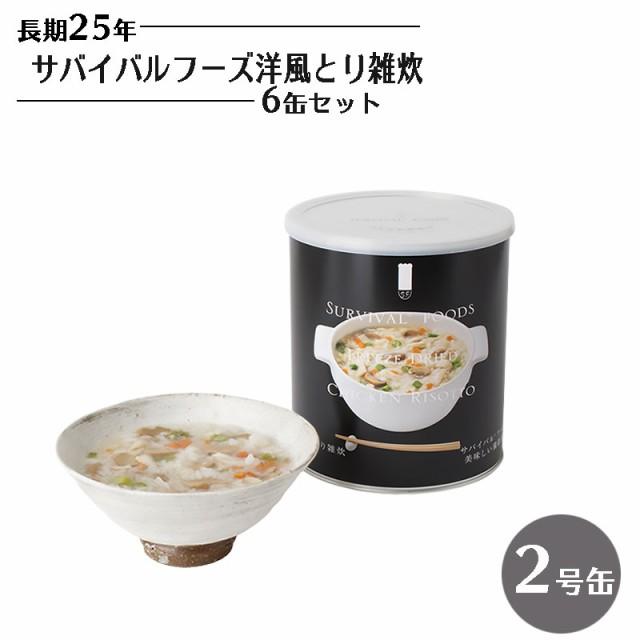 25年保存 サバイバルフーズ 洋風とり雑炊 6缶セッ...