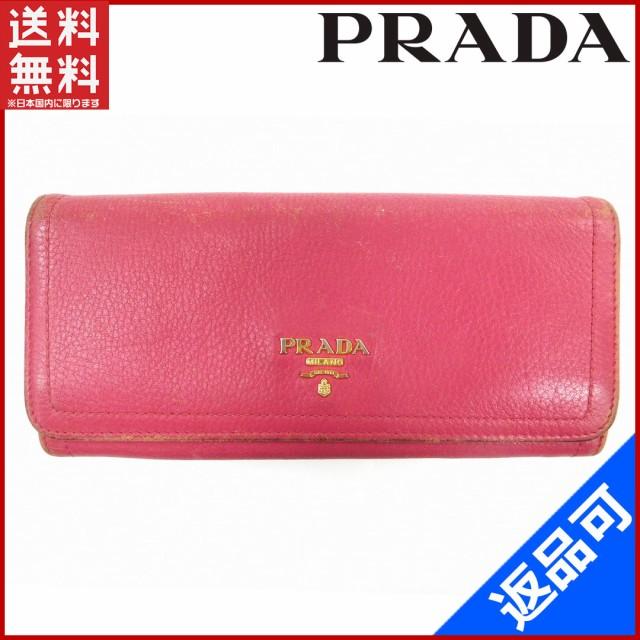 low priced 185b4 28ca8 プラダ 財布 PRADA 長財布 ピンク 即納 【中古】 X15396