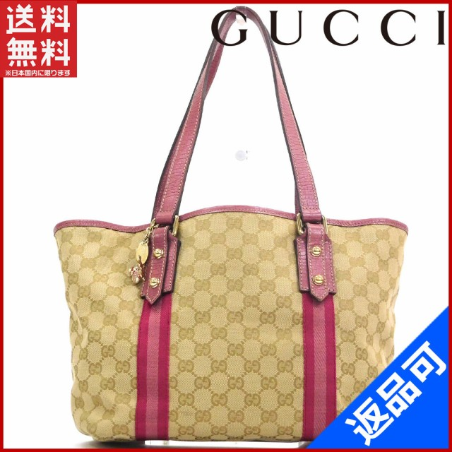 7a0f4a1418a9 グッチ バッグ GUCCI トートバッグ ベージュ×ピンク 送料無料 即納 【中古】 X17194