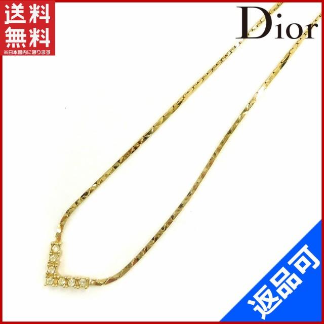 competitive price f3a53 80cce クリスチャン・ディオール アクセサリー Dior ネックレス アクセサリー Vラインストーン ゴールド (良品・即納) 【中古】 X4839