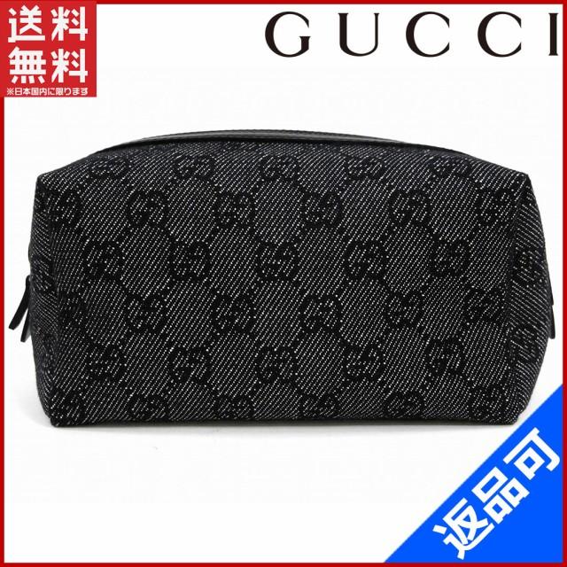 9d4731d64568 グッチ バッグ GUCCI ポーチ 化粧ポーチ ブラック 人気 美品 【中古】 X6061