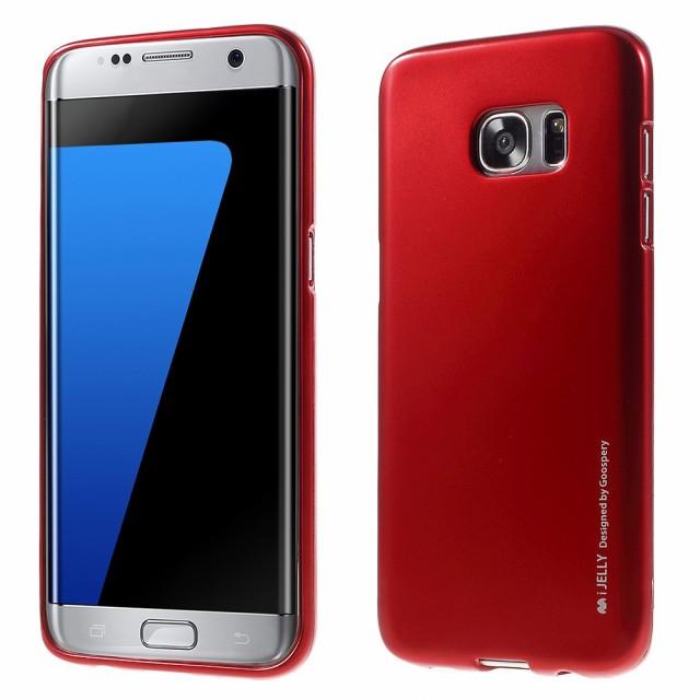 Galaxy S7 edge ソフトケース レッド 液晶保護フ...