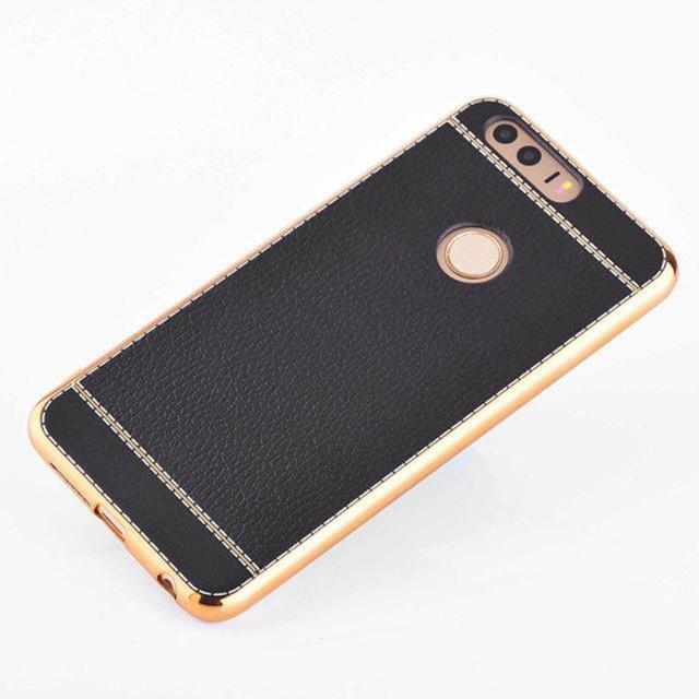 Huawei Honor 8 レザーケース ブラック 強化ガラ...