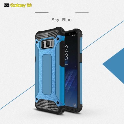 Galaxy S8 ハードケース ベイビーブルー 強化ガラ...