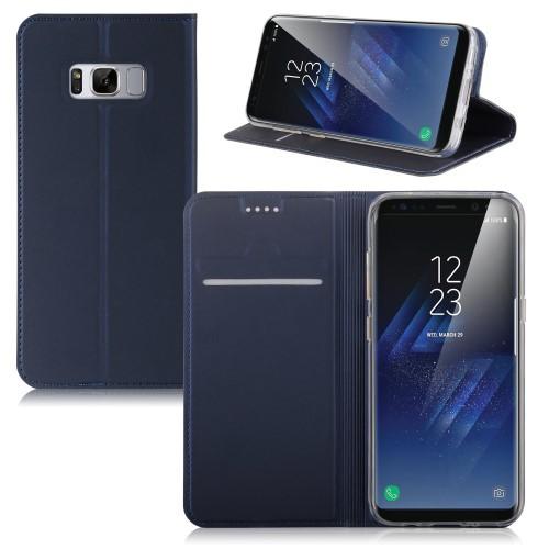 Galaxy S8 レザーケース ダークブルー 液晶保護フ...