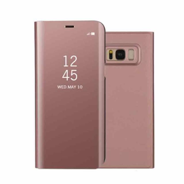 Galaxy S8 Plus レザーケース ローズゴールド 液...