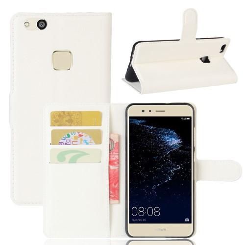 Huawei P10 Lite レザーケース ホワイト 強化ガラ...