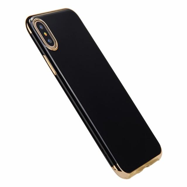 iPhone X ハードケース ゴールド 強化ガラス保護...