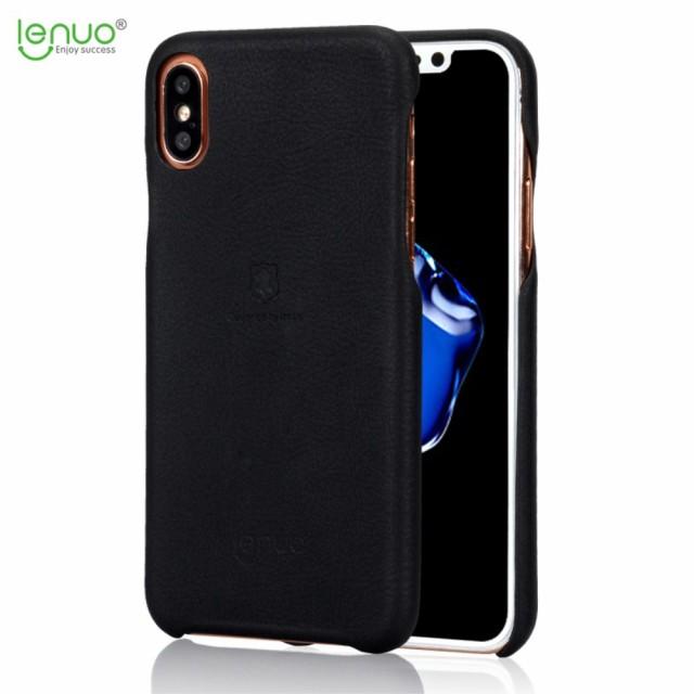 iPhone X レザーケース ブラック 強化ガラス保護...