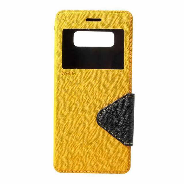 Galaxy Note 8 レザーケース イエロー 液晶保護フ...