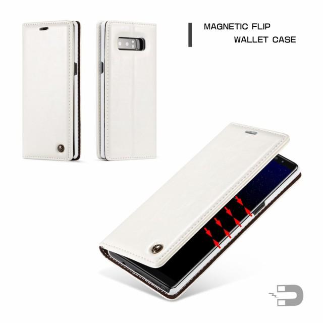 Galaxy Note 8 レザーケース ホワイト 液晶保護フ...