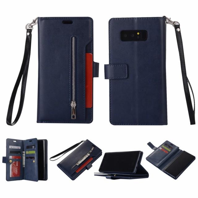 Galaxy Note 8 レザーケース ダークブルー 液晶保...