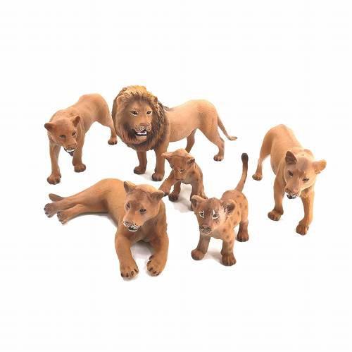 ミニチュア 動物 ライオン 群れ 家族 6匹セット A...