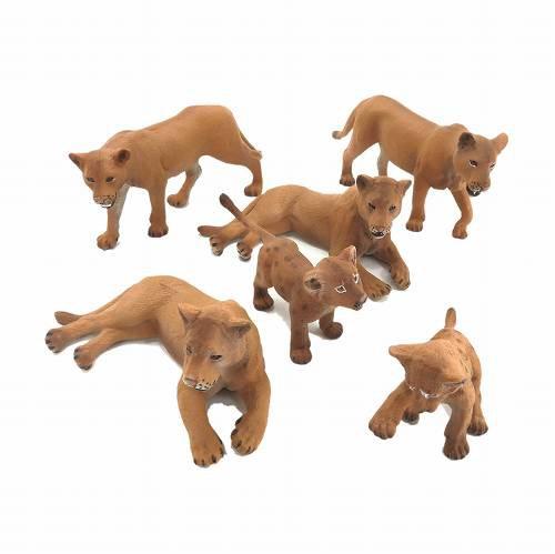 ミニチュア 動物 ライオン 群れ 家族 6匹セット ...