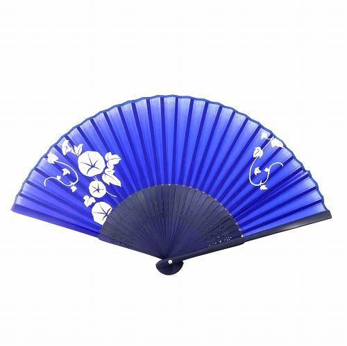◎ 扇子 女性用 朝顔 紺色 シルク ETSE-412
