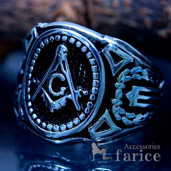 秘密結社 フリーメイソン ステンレス リング 指輪...