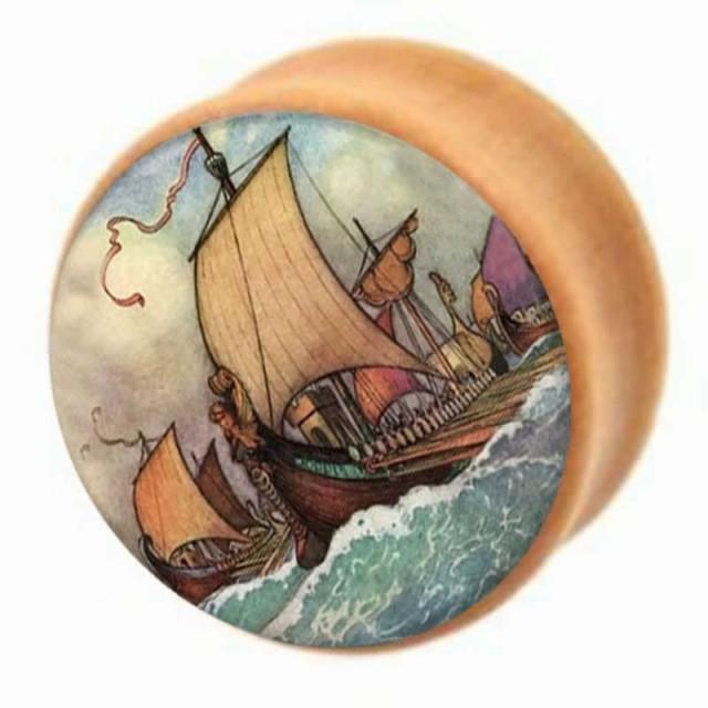 海賊船 ウッドプラグ ボディピアス 2G 2ゲージ 0G...