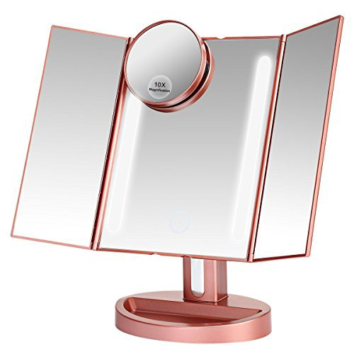 LEEPWEI 化粧鏡 女優ミラー 鏡 卓上 LED三面鏡 折...