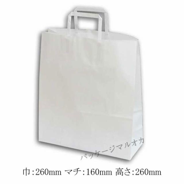 手提げ紙袋 E判 晒白無地 100g 平手紐 26cm巾
