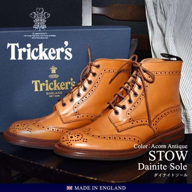 トリッカーズ ショートブーツ メンズ ダイナイトソール レザーシューズ メダリオン ウィングチップ ストウ TRICKER'S STOW 5634 24