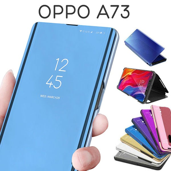 OPPO A73 ケース 手帳型 半透明ミラー カバー オ...