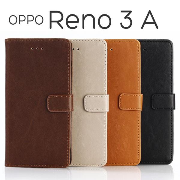 OPPO Reno3 A ケース 手帳型 アンティーク調 オッ...