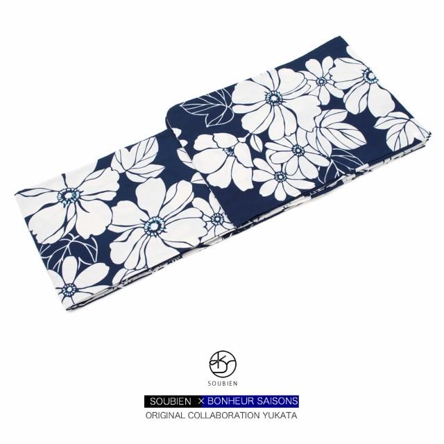 【人気ブランドbonheur saisonsのレディース浴衣】藍色/ネイビー/白/ホワイト/花/綿/ボヌールセゾン/S・フリー