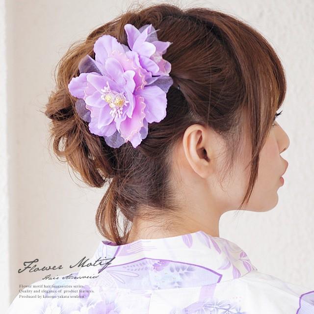 【浴衣にオススメ☆花の髪飾り】紫/花/パールビーズ/浴衣/夏