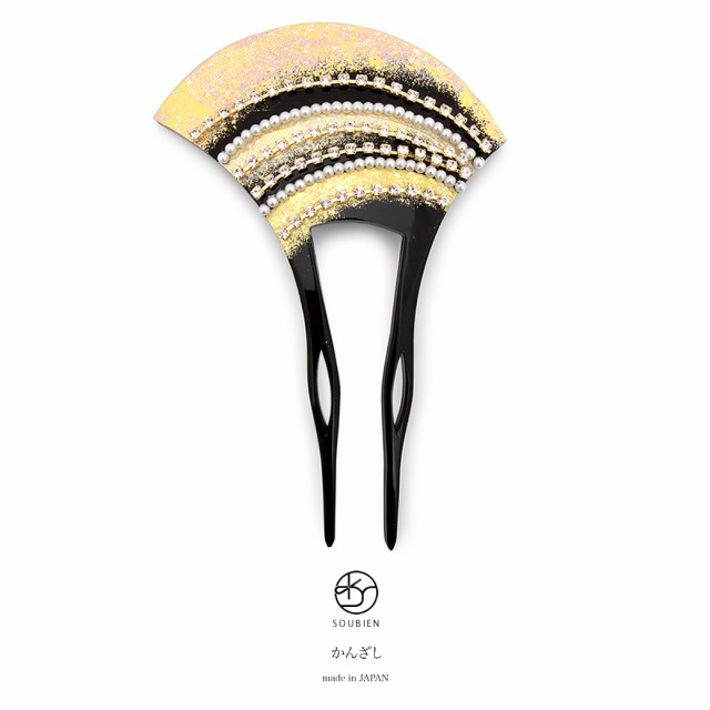 【フォーマルな着物におすすめなバチ型簪】黒/ブ...