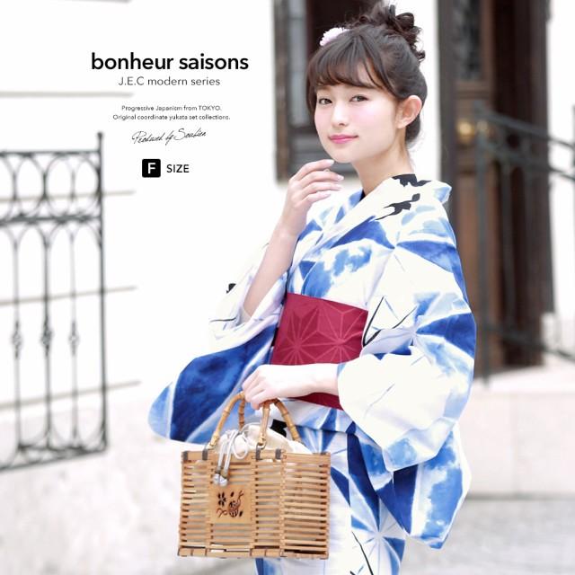 即納!【bonheur saisonsの浴衣3点セット】白/オ...