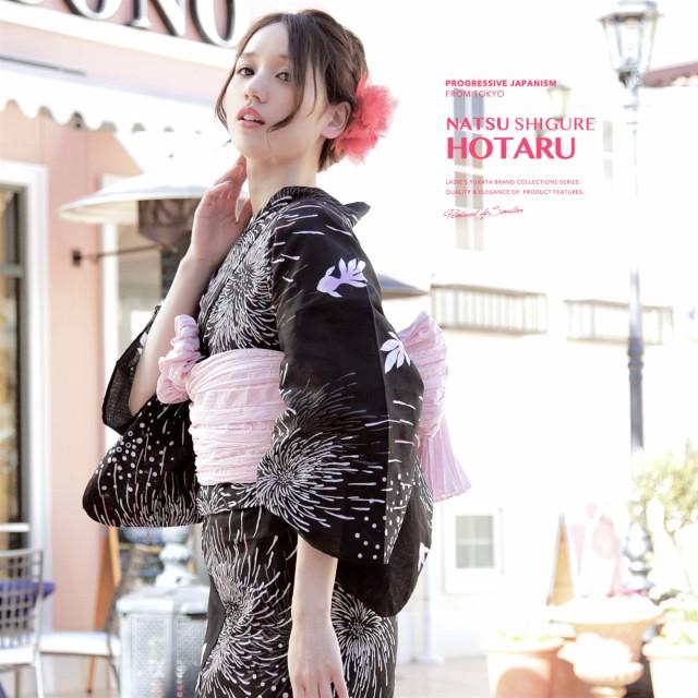 即納!【bonheur saisonsの浴衣3点セット】黒/ブラック/白/花火/金魚/綿/紅梅/ラメ/浴衣セット/ボヌールセゾン