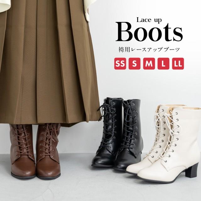 袴ブーツ ブーツ 黒 レディース 太ヒール 合皮 レ...