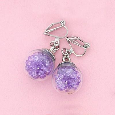紫/ガラスドームのイヤリング