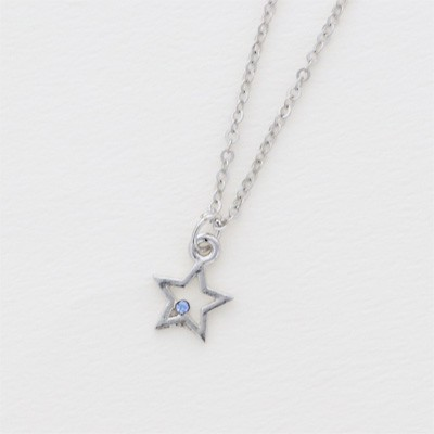 青/ストーン付き星のネックレス
