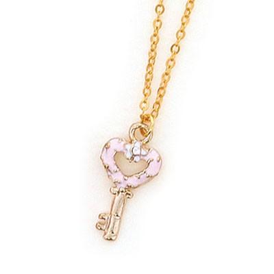 ピンク/白花付きハートカギのネックレス