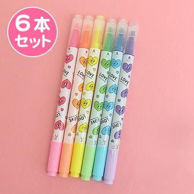 ハート顔と英字デザイン蛍光ペン/6本セット