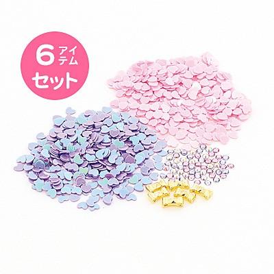 桃系/リボン&ハートスパンコールネイルパック