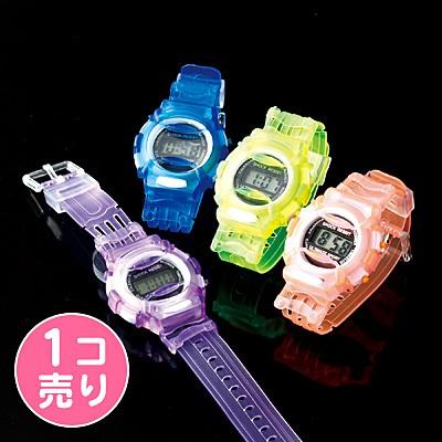 クリアカラーのデジタル腕時計/1個売り