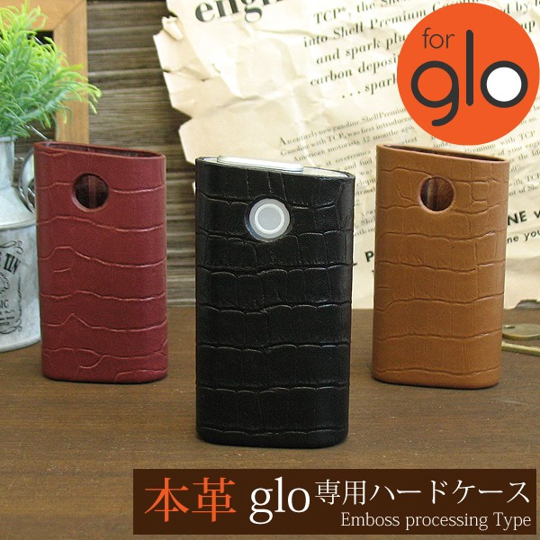 glo グロー ケース カバー 本革 レザー クロコ 電...