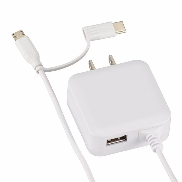 OHM ACアダプター MicroUSB/Type-C変換プラグ USB...