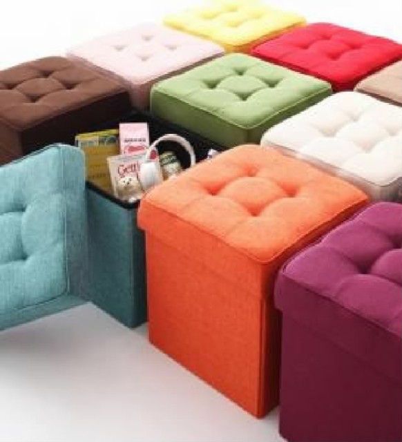 20色から選べる、折りたたみ式収納スツール トラ...